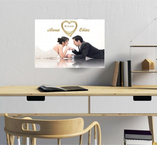 Hochzeitsbild in rechteckiger Form und Echtgoldrand