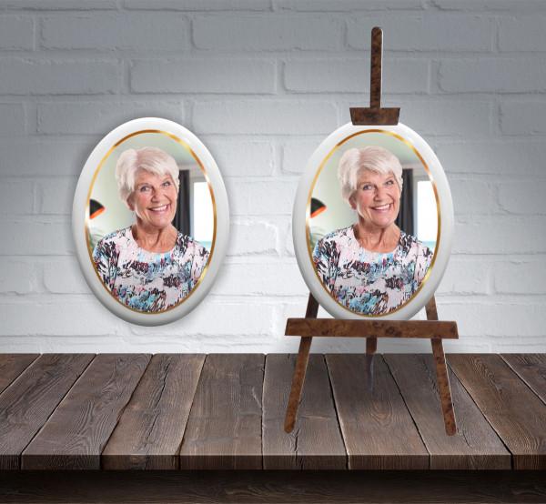 2 x Porzellanbild 7x9 cm inkl. hochwertige Holzstaffelei